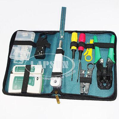 9pcs RJ45 RJ11 CAT5 LAN Network Tool Kit Set bag Cable Tester Crimper Plug Plier