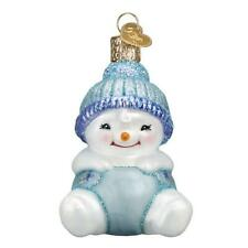 """X Old World Christmas Ornament w// OWC Box 24150 /""""Snow Family Banner/"""" Snowman"""