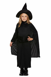 Girls-Witch-Witches-Halloween-Party-Fancy-Dress-Costume-Inc-Hat-Age-4-12