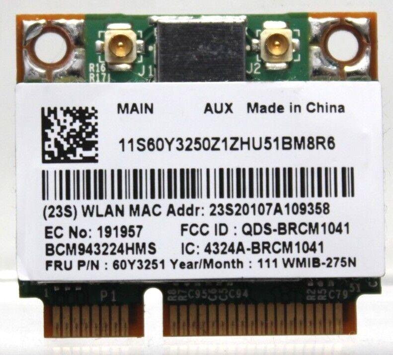 GENUINE Lenovo Dual Band 300Mbps Broadcom BCM43224 BCM943224HMS PCI-E Wifi Card