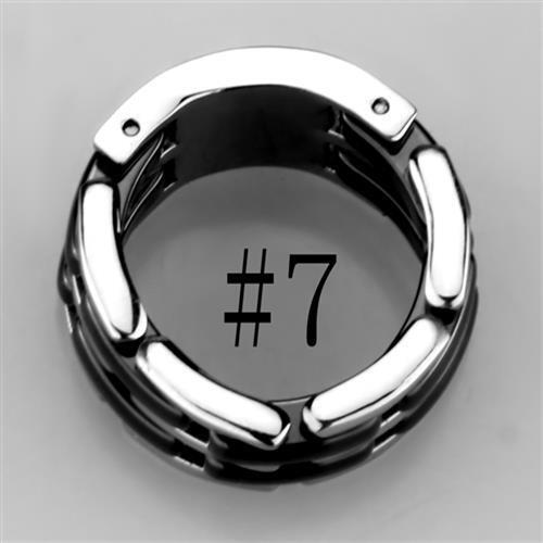 W974 10mm STAINLESS STEEL RING BLACK CERAMIC BAND ETERNITY WEDDING NO STONE