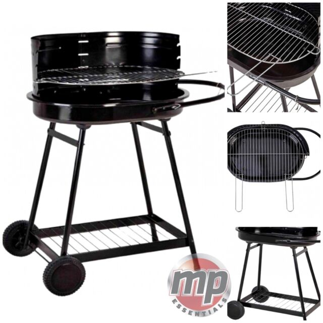 Barren Portable Charcoal Trolley Barbecue Bbq Outdoor Grill With Wheels Black