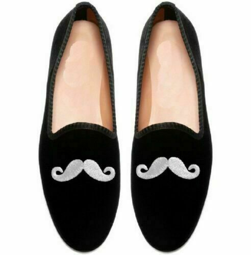 Homme Fait à la main Chaussures velours Noir Pantoufles argent broderie Mocassins Slip On Nouveau