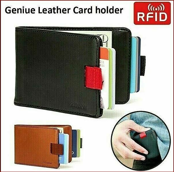 Fashion Genuine Leather 12 Cards & 30 Bills Slim Pull Out Wallet Card Holder
