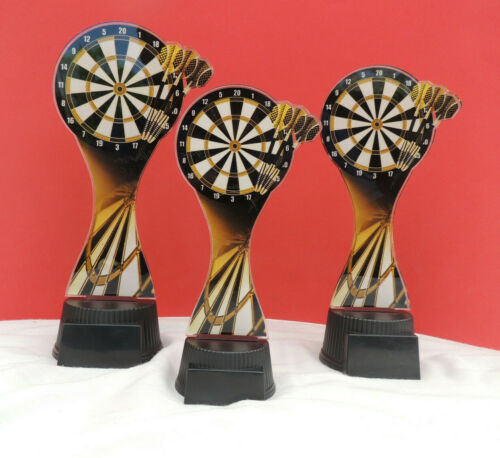 3er Serie Pokale Darts Dart Acryl Pokal inkl.Gravur ACUT SEPIA