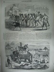 INDE-CALCUTTA-ARMeE-ANGLAISE-ELEPHANT-TRAIN-PONTARLIER-NEUFCHATEL-GRAVURES-1860