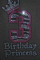 Birthday Girl Age 3 Children's Rhinestone Bling Tshirt 3rd Birthday 3 Years Old