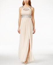 Betsy & Adam Cleopatra Rhinestone Encrusted Sparkle Blush Dress Size 4 $259.