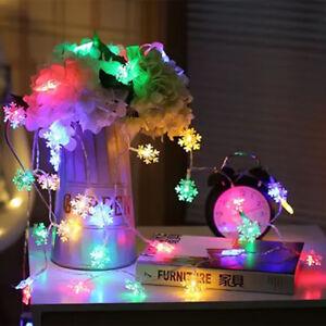 MULTICOLOR-FIOCCO-di-NEVE-LED-Luce-String-Fairy-A-BATTERIA-Natale-Festa-Matrimonio