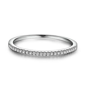 Sterling Silver Real 0 15ct Diamonds Simple Engagement Band Ring