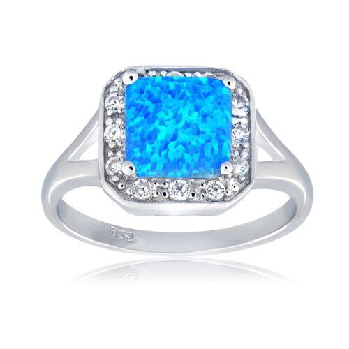 Sterlingsilber Künstlicher Blauer Opal /& Cz Quadrat Ring