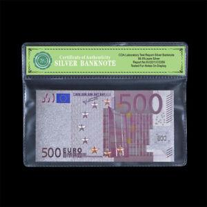 Wr COA plastic framed color 500 euro sliver foil banknote