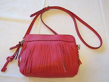 1067ecfa9c Fossil Sydney Fringe Crossbody Bag Pomegranate Pink Leather Zb6707661