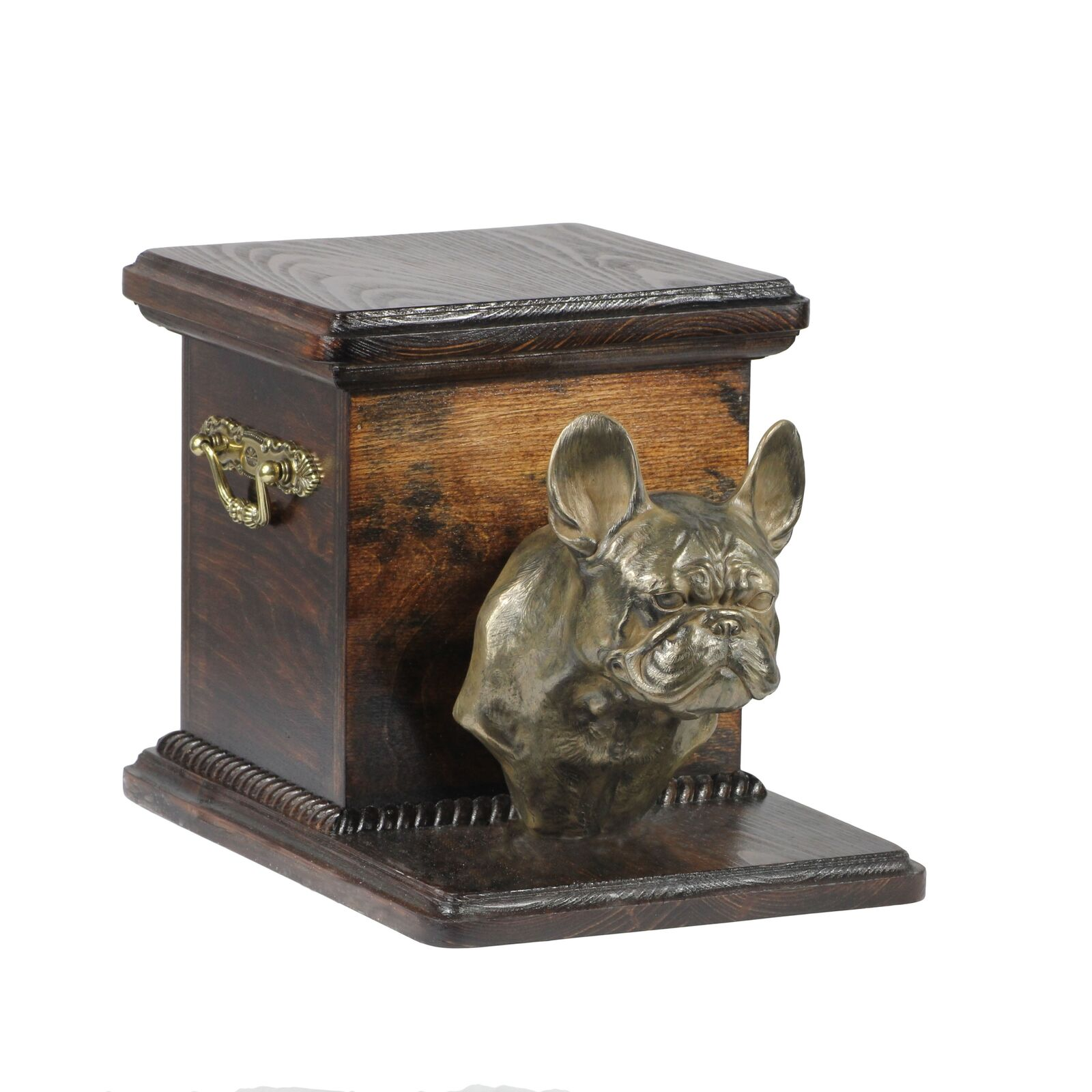 French Bulldog type 2  wooden exclusive urn for dog with statue, Art Dog type 3