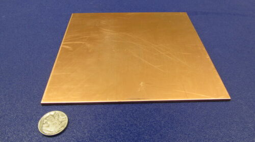 """110 Copper Sheet Soft Annealed  .093/"""" Thick x 6.0/"""" Wide x 6.0/""""  Length"""
