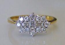 "Baguette & Brilliant Cut  0.50ct Diamond & 18ct Gold ""Boat"" Cluster Ring"