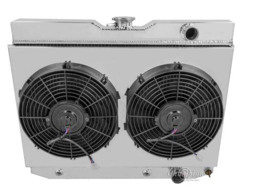 "Chevy Kingswood Custom Aluminum Radiator Fan Shroud /& 2-12/"" Fans-16 1//2/""H x 24 1"