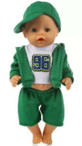 weiß/grün Baby Born/Sister Puppenkleidung NEU 43 cm Jogging Anzug zb