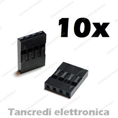 10x connettore dupont 4 poli posti 4P 2.54mm femmina presa spina arduino pins