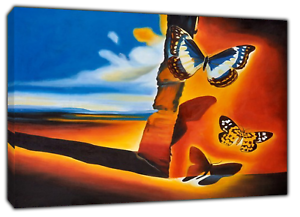 LANDSCAPE WITH BUTTERFLIES  BY SALVADOR DALI  REPRINT ON CANVAS  WALL ART DECOR