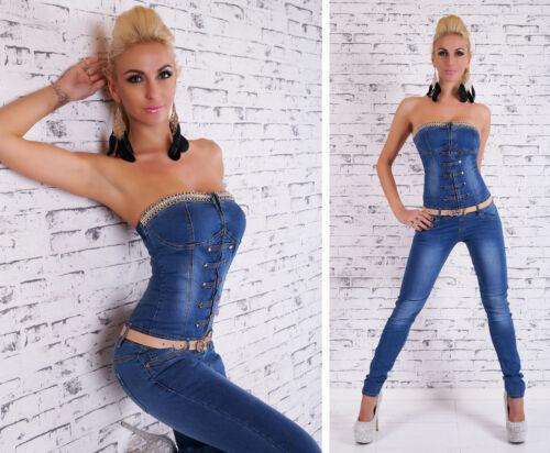 Femmes Chaîne /& Strass sans Bretelle Jean Combinaison S//M//L//XL Ceinture