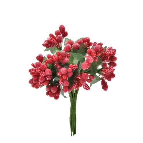12x Artificial Stamen Bud Silk Flowers Bouquet Wedding Decor DIY Craft Box RDUJ