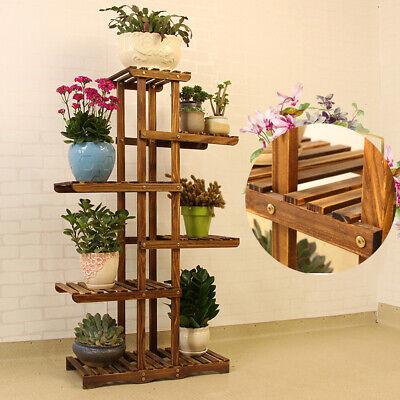6 Tier Wooden Tall Flower Pot Plant Stand Shelf Display Garden Decor Rack Indoor