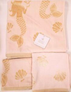 3-PC-DEBORAH-CONNOLLY-SILKY-PINK-GOLD-MERMAID-VISCOSE-BATH-HAND-TOWEL-WASH-CLOTH