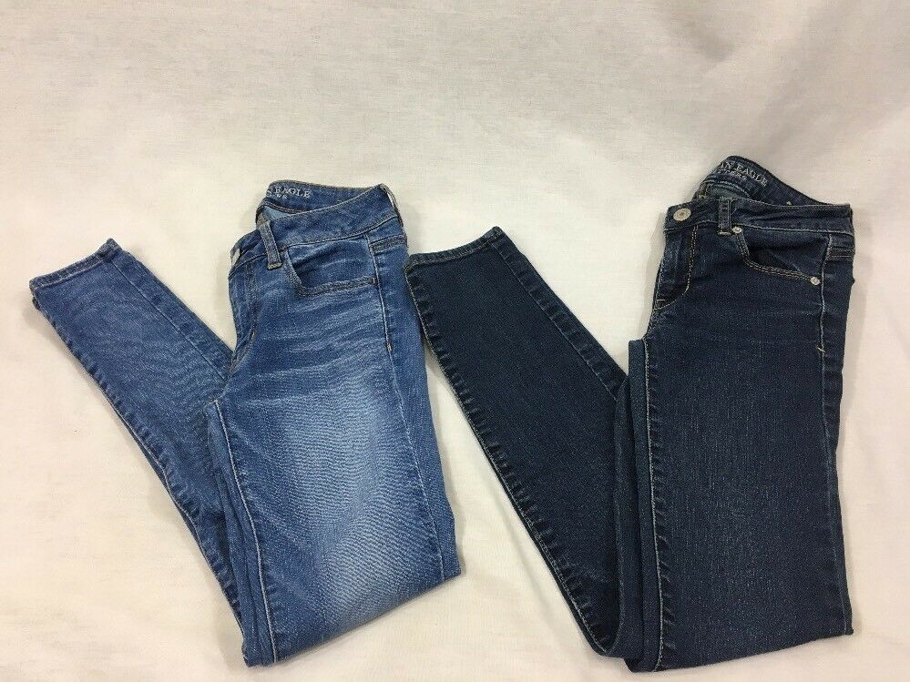 bluee Jeans American Eagle Womens 2 Reg Jegging Skinny Super Stretch Lot of 2