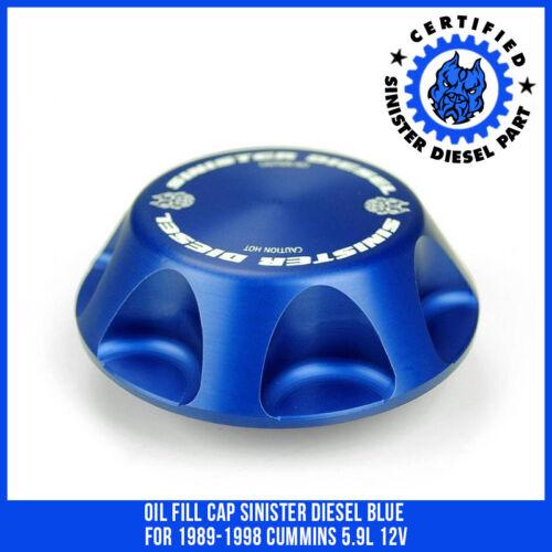 Oil Fill Cap Sinister Diesel Blue for 1989-1998 Cummins 5.9L 12v