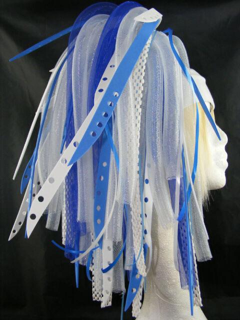CYBERLOXSHOP BLUEBLEACH CYBERLOX CYBER HAIR FALLS DREADS GOTH RAVE BLUE WHITE