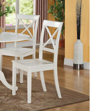 set of 2 boston dinette kitchen dining chairs w plain wood seat in linen white - White Wood Dining Chairs