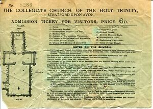 Shakespeare Collegiate Church Of The Holy Trinity Stratford-upon-Avon Ticket