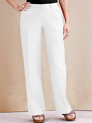 1b0bb90654 New Women Ladies Joanna Hope WHITE Linen Blend Trousers Plus Size 12 to 32  BNWT