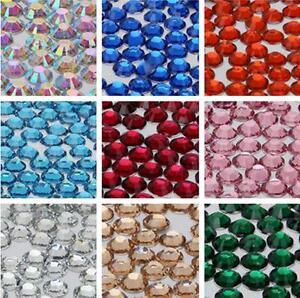 1000-Flat-Back-Resin-Rhinestones-Gem-Diamante-Crystal-2-3-4-5-6mm-33-color