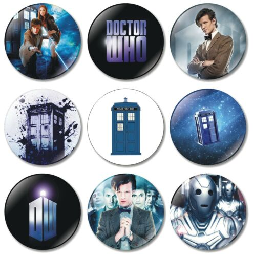 9 x Dr Who 32mm BUTTON PIN BADGES TV Show Tardis British Doctor Who Time Lord