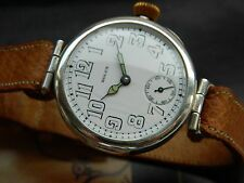 VINTAGE 1916 ROLEX STERLING SILVER MILITARY OFFICERS WATCH