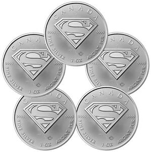 2016-Canada-5-1-oz-Silver-Superman-Lot-of-5-Coins-GEM-BU-SKU41396