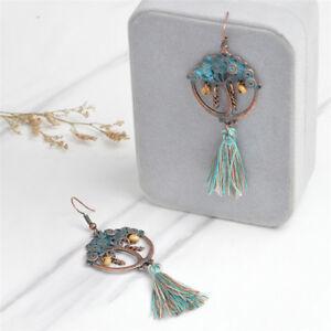 Details about Bohemian Tree of Life Long Tassel Earrings Fringe Drop Dangle  Earring Jewelry RS