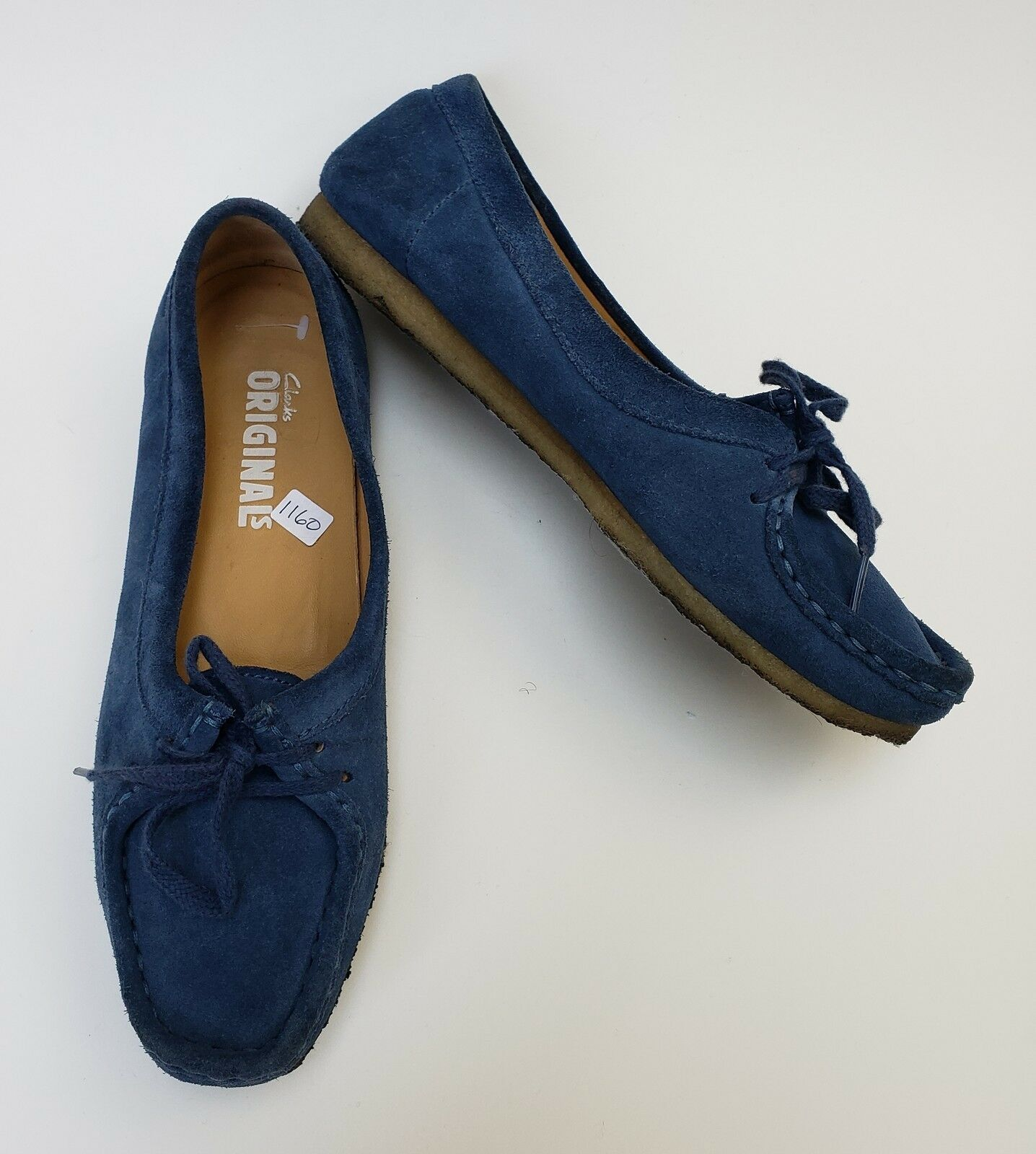 Clarks shoes Flats Wallabee bluee Suede Lace Up Originals Womens Size 9 M