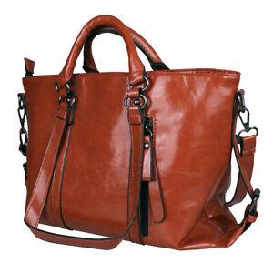 Women-039-s-Oiled-Leather-Handbag-Lady-Briefcase-Tote-Purse-Shoulder-Messenger-Bag