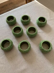 Tahari-Home-Glass-BEADED-GREEN-Napkin-Rings-set-of-8