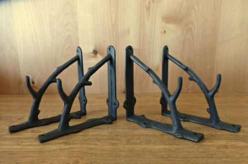 "4 LARGE BROWN 7/"" TREE BRANCH TWIG SHELF BRACKETS RUSTIC CAST IRON wall garden"