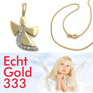 Baby Kinder Zirkonia Schutz Engel Echt Gold 333 mit Kette Silber 925 vergoldet