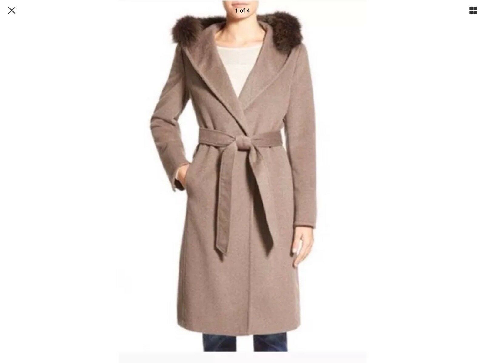 NWT  ELLEN TRACY FOX FUR TRIMED LONG HOODED WOOL BLEND TAUPE COAT PETITE 8P
