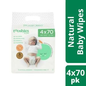 Tooshies By Tom Organic Hypoallergenic Fragrance Free 280 Baby Wipes 4x70 pac...