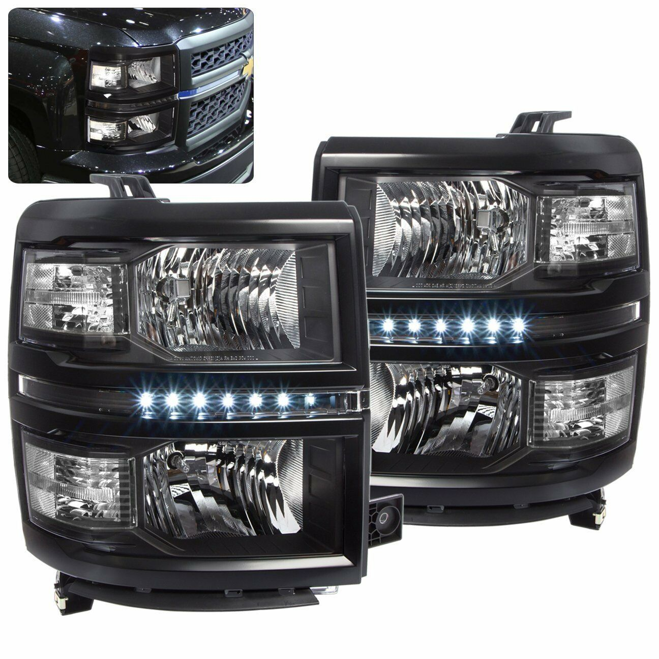 chevy silverado 1500 2014 2015 2016 headlight black. Black Bedroom Furniture Sets. Home Design Ideas