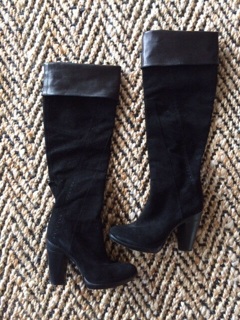 1230 COSTUME NATIONAL Black Genuine Leather Suede Boots Made in Italy Size 6