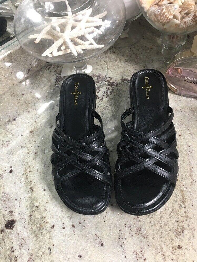 Cole Haan N Air Wedge Black Silver  Strappy Sandals sz 8 B Slides Platform