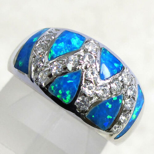 Wonderful blue opal 925 Sterling Silver Ring Taille 5